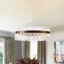 Circular Clear Glass Chandelier Luxurious Dining Room LED Ceiling Hang Fixture in Gold