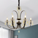 Candelabra Living Room Chandelier Modern Iron 6/8 Bulbs Black and Gold Pendant with Crystal Accent