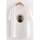 Chic White Cartoon Cat Printed Short Sleeve Crew Neck Loose Fit T-shirt for Women
