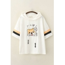 Japanese Letter Dog Embroidery Striped Short Sleeve Hooded Drawstring Loose Fit Fancy Tee Top for Girls