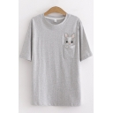 Basic Womens Rabbit Embroidered Chest Pocket Short Sleeve Crew Neck Relaxed Fit T-shirt