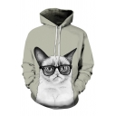 Funny Cat 3D Pattern Long Sleeve Drawstring Kangaroo Pocket Relaxed Stylish Hoodie for Guys