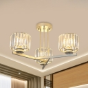 Cylindrical Bedroom Semi Flush Contemporary K9 Crystal 3/4 Heads Gold Flush Mount Light Fixture