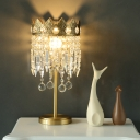 Brass Crown Table Lighting Retro Metal 1-Light Bedroom Night Lamp with Dangling Crystal