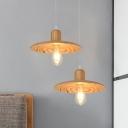 1 Bulb Dining Table Suspension Light Minimalist Orange Red/Beige Mini Pendant with Flat Wood Shade