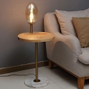 White/Cognac Glass Egg Shape Floor Lamp Nordic Single Bulb Standing Light with Wood Table and USB Port