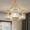 Brass Drum Cage Chandelier Mid-Century Metal 3 Heads Dining Table Pendant Light with Cuboid Crystal Shade