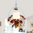 Red 1 Light Hanging Lamp Pastoral Milk Glass Scalloped Pendant with Flower and Leaf Decor