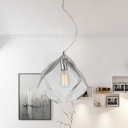 Rock Shape Pendant Lamp Minimalism Clear Glass 1 Head Dining Table Suspension Light