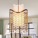 3-Light Pendant Lighting Rural Draped Crystal Strand Chandelier in Rust with Inner White Fabric Shade