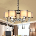 Chrome 6-Light Chandelier Countryside Fabric Dual Drum Shade Hanging Lamp with Crystal Drip