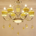 Yellow Glass Candle Pendant Lighting 6 Bulbs Bedroom Chandelier Lamp with Carved Arm in Gold