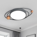 Iron Orbital Planet Flush-Mount Light Nordic Grey/White/Blue LED Close to Ceiling Lighting with Wood Ball