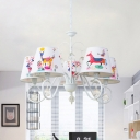 Printed Fabric Conical Suspension Lamp Cartoon Style 5 Bulbs White Chandelier Pendant with Scroll Arm and Crystal Drop