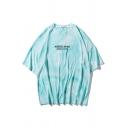 Leisure Mens Letter Misseaste Are Boy Tie Dye Printed Half Sleeves Crew Neck Oversize Tee Top