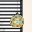 Green Cut Glass Hanging Pendant Globe 1-Light Tiffany Ceiling Light with Mosaic Pattern