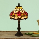 Dark Coffee Tulip Patterned Night Lighting Mediterranean 1 Light Stained Glass Desk Lamp with Bowl Shade