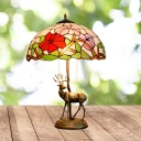 Red/Orange 2 Bulbs Desk Lighting Mediterranean Stained Glass Domed Flower Patterned Table Lamp with Deer Design