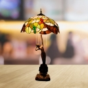 3-Light Bedroom Night Table Lamp Baroque Coffee Leaf and Grape Patterned Desk Light with Dome Hand Cut Glass Shade