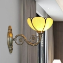 Blooming Wall Mounted Lamp Single Beige Glass Traditional Sconce Lighting with Carved Arm