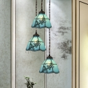 Tiffany Bell Shade Drop Pendant 3 Heads Pink/Light Blue-White/Dark Blue Glass Hanging Lamp with Flower/Grapes Pattern