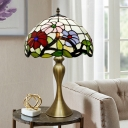 Gold Curved Shape Nightstand Light Tiffany 1-Light Metal Table Lamp with Peony Blossom Cut Glass Shade