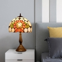 1 Light Night Lighting Tiffany Style Dome Shade Hand Cut Glass Sunflower Patterned Table Lamp in Bronze