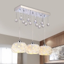Domed Multi Light Pendant Simple Style Crystal Ball 3 Lights White Finish Down Lighting