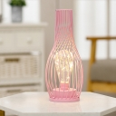 Open Vase LED Nightstand Lamp Macaron Metal Bedroom Table Light in Pink/Black/Gold with USB Cable