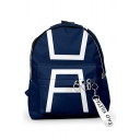 Streetwear Geometric Patterned O-ring Strap Decoration Large Capacity Backpack in Blue