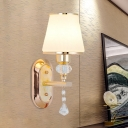 1/2-Bulb Wall Light Fixture Minimalist Tapered Cream Glass Sconce in Gold with Crystal Drop