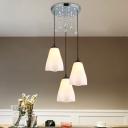 3 Heads Crystal Multi Light Pendant Simple Scalloped White Glass Hanging Lamp for Dining Room