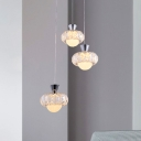 Circle Kitchen Cluster Pendant Simple K9 Crystal 3 Bulbs Chrome Ceiling Hang Fixture