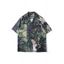 Harajuku Green Allover Cartoon Printed Short Sleeve Lapel Collar Button up Chest Pocket Loose Fit Shirt for Men