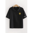 Preppy Looks Letter Sunny Day Sun Embroidered Short Sleeve Spread Collar Button up Relaxed Polo Shirt