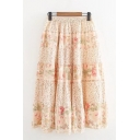 Pretty Womens All over Flower Printed Patchwork Elastic Waist Mid Pleated A-line Skirt