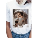 Chic Girls Patterned Short Sleeve Crew Neck Loose Fit T Shirt in White