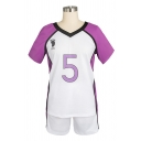 Purple Classic Colorblock Striped Footprint Number 5 Pattern V-neck Short Sleeve Graphic Sport Co-ords
