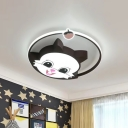Coffee Squirrel Flush Light Fixture Cartoon Acrylic LED Ceiling Flush Mount with Halo Ring