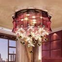 Sheer Fabric Flower Ceiling Flush Modernist LED Pink Flushmount Light with Crystal Accent