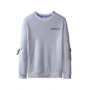 Stylish Letter Everyssion Printed Flap Pockets Long Sleeve Round Neck Relaxed Pullover Sweatshirt for Guys