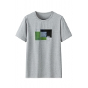 Leisure Mens Patterned Short Sleeve Crew Neck Relaxed Fitted Tee Top