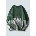 Casual Mens Letter Max Printed Colorblock Patchwork Long Sleeve Crew Neck Relaxed Pullover Sweatshirt in Gray-Green