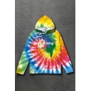 Tie Dye Graphic Long Sleeve Drawstring Relaxed Fitted Trendy Hoodie with Pocket