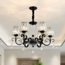 Black 3/6 Bulbs Chandelier Lighting Minimalist Crystal Block Conic Hanging Ceiling Lamp