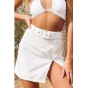 Fashionable Solid Color Buckle Embellished Slit Mini Bodycon Skirt for Women