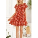 Popular Girls All over Floral Printed Ruffled Bell Sleeves Round Neck Short Pleated A-line Dress in Red