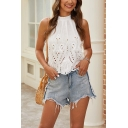 Pretty Girls Hollow out Mock Neck Bow Tie Back Scalloped Relaxed Tank Top in White