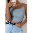 Stylish Girls Square Neck Drawstring Side Knitted Slim Fit Crop Tank Top in Blue