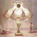1 Bulb Fabric Night Stand Lamp Pastoral Beige Princess Lace Skirt Bedroom Table Light with Drape